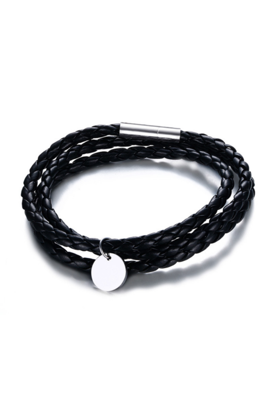 A & ONE Fekete Többsoros Bőr Karkötő Titánium Részletekkel -- Unisex