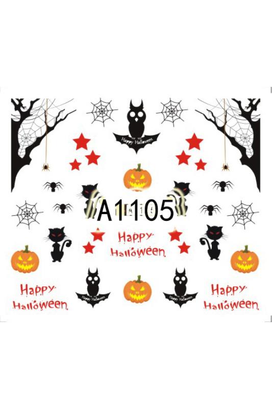 Moonbasa Akril Hatású Halloweeni Körömmatrica -- Piros Szemű Cica
