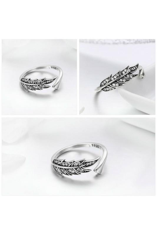 A & ONE Állítható Ezüst Gyűrű Levél Formával