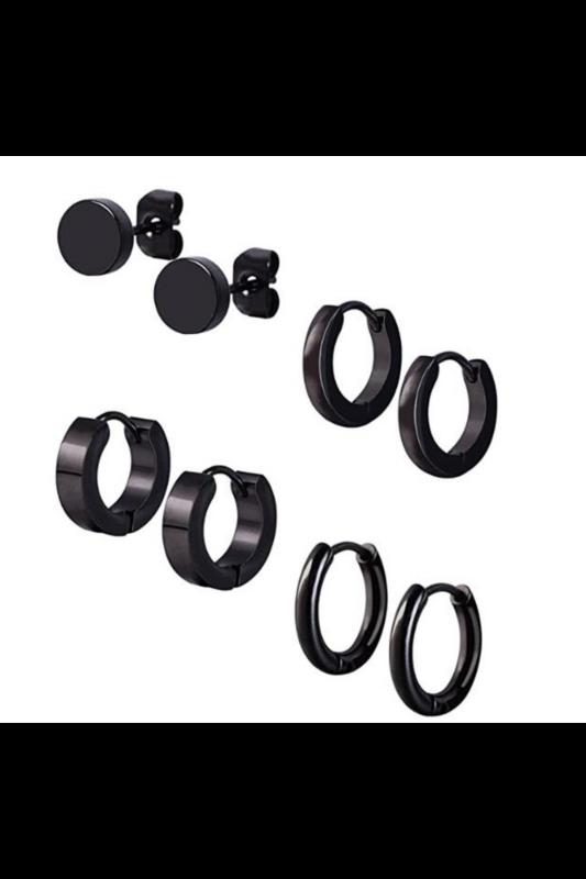 A & ONE Fekete Rozsdamentes Acél Piercing Szett 8 Db-os