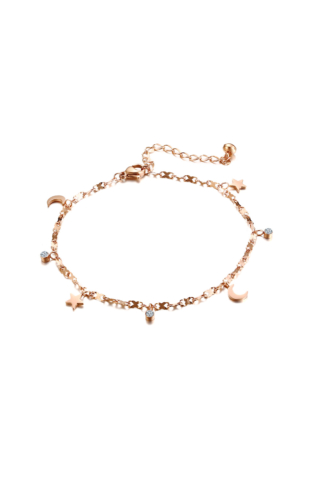 A & ONE Rózsaarany színű rozsdamentes acélból készült bokalánc hold és csillag alakú medálokkal