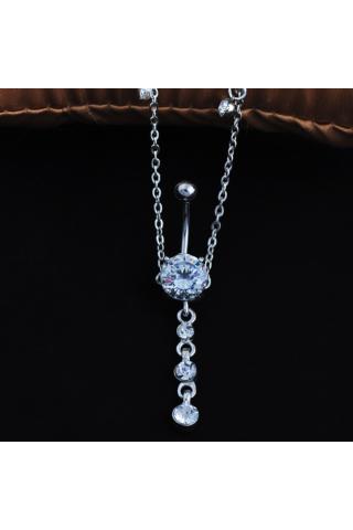 A & ONE Csillogós Kövekkel Díszített Haslánc-Köldök Piercing