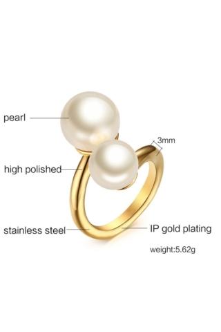 A & ONE Rozsdamentes Acélból Készült Arany Színű Női Gyűrű Gyöngyökkel