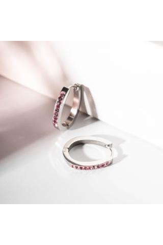 A & ONE Világos Rózsaszín Strasszokkal Díszített Kicsi Karika Fülbevaló