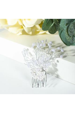 A & ONE Átlátszó És Fehér Gyöngyökkel Díszített Nagy Esküvői Hajfésű