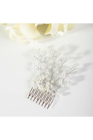 A & ONE Vegyes Gyöngyökkel Díszített Nagy Esküvői Hajfésű