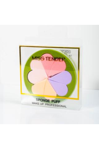 Virág Formájú 8 db-os Sminkszivacs Készlet - Zöld