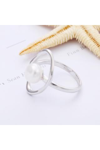 A & ONE Fehér Gyönggyel Díszített Ezüst Gyűrű