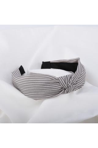 A & ONE Szürke Textil Hajpánt Fehér Csíkokkal