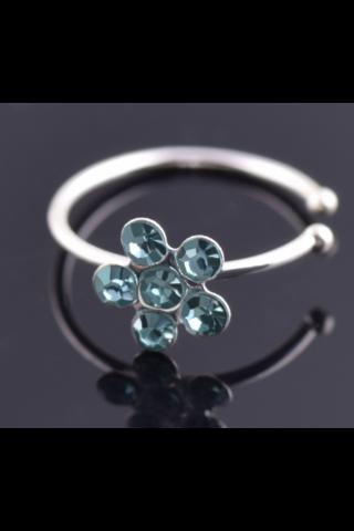 A & ONE Virág Alakban Strasszos Ezüst Színű Orvosi Acélból Készült Orr Piercing
