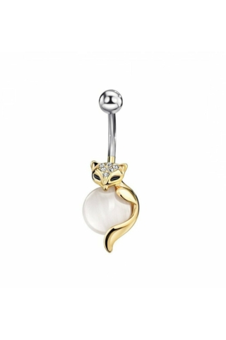 A & ONE Fehér színű cirkóniával díszített cicás köldök piercing