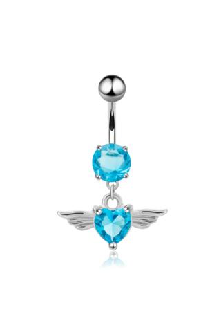 A & ONE Ezüst színű kék cirkónia köves szivecskés medálos köldök piercing