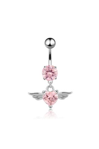 A & ONE Ezüst színű rózsaszín cirkónia köves szivecskés medálos köldök piercing
