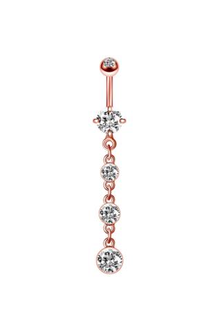 A & ONE Rózsaarany színű cirkónia köves lógós köldök piercing