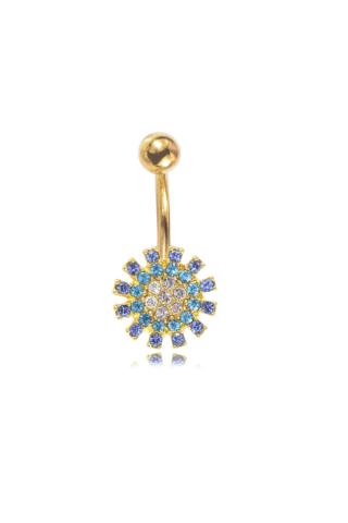 A & ONE Kék strasszkövekkel díszített ezüst színű piercing