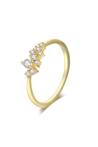 A & ONE Különböző méretű kövekkel díszített Aranyozott Gyűrű