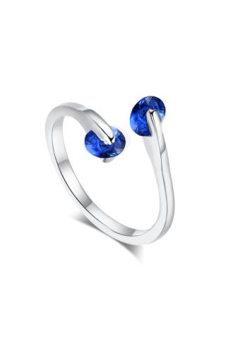 A & ONE Aranyozott rézből készült Ezüst színű Gyűrű Kék kövekkel