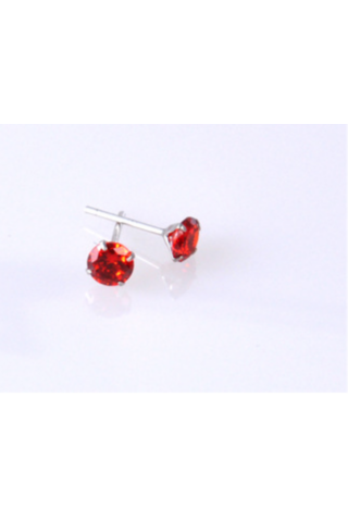 A & ONE Ezüst fülbevaló piros kővel 5 mm