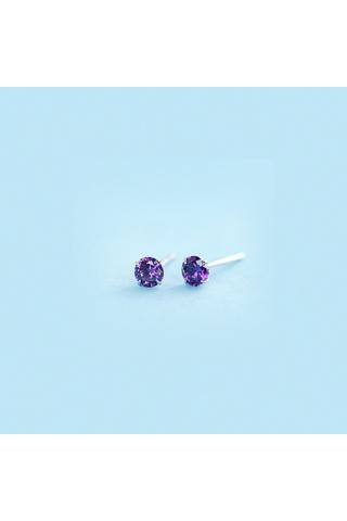 A & ONE Ezüst apróköves lila fülbevaló 5 mm
