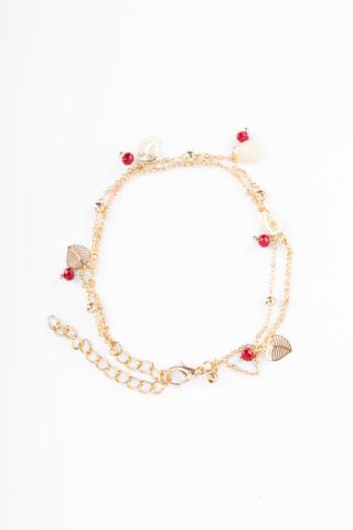 A & ONE Arany Színű Bokalánc Piros Gyöngyökkel És Levél Medálokkal