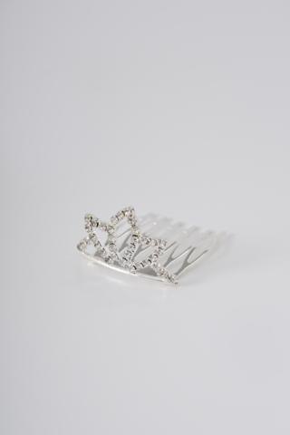 A & ONE Ezüst Színű Tiara Alakú Mini Hajfésű Strasszkövekkel