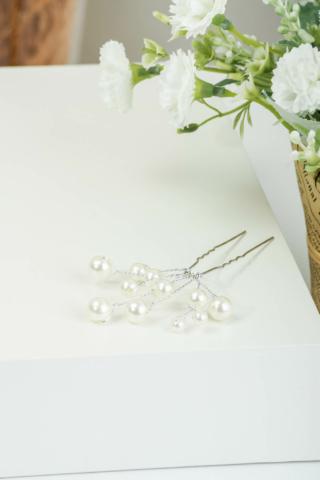 A & ONE Ezüst Színű Fehér Gyöngyökkel Díszített Hajtű