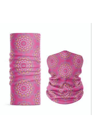 A & ONE Rózsaszín Mandala Mintás Poliészter Csősál