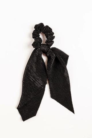 A & ONE Fekete Bordázott Hajgumi Hosszú Szalaggal Díszítve