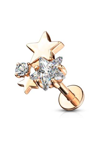A & ONE 14 Karátos Arannyal Bevont Ródiumozott Rózsaarany Színű Orvosi Acél Csillag Alakú Piercing, Cirkónia Kövekkel
