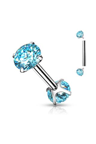 A & ONE Ezüst Színű Kék Strasszköves Orvosi Acél Piercing