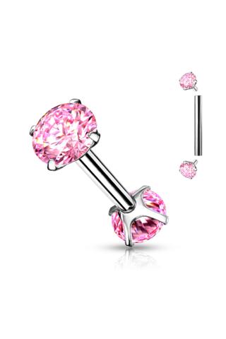 A & ONE Ezüst Színű Rózsaszínű Strasszköves Orvosi Acél Piercing