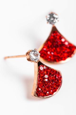 A & ONE Piros Színű Cirkónia Kövekkel Díszített Titánium Fülbevaló