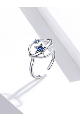 A & ONE Állítható Ezüst Gyűrű Csillag Formával És Cirkónia Kövekkel