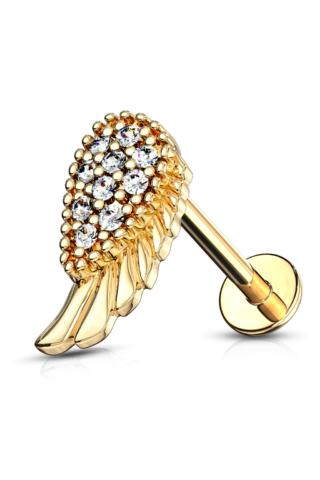 A & ONE 14 Karátos Arannyal Bevont Arany Színű Angyalszárny Alakú Piercing
