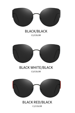 A & ONE Polarizált Fekete Keretes Piros díszítésű Díszítésű Ovális Pilóta Fazonú Napszemüveg