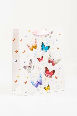 A & ONE Fehér Alapon Színes Pillangóval Díszített Ajándéktáska -- 26 cm x 32 cm