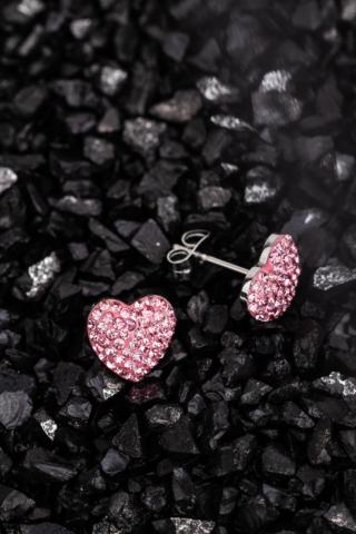 A & ONE Rózsaszín Rozsdamentes Acél Szív Alakú Fülbevaló Cirkónia Kövekkel