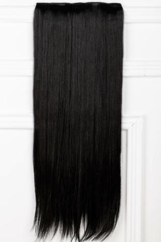 A & ONE Fekete Egyenes Csatos Póthaj 73 cm