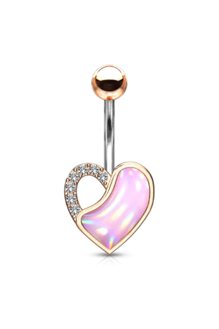 A & ONE Aranyozott, Orvosi Acél Rózsaarany Színű Szív Alakú Köldök Piercing Rózsaszín Opálos Kővel