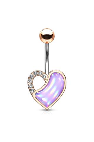A & ONE Aranyozott, Orvosi Acél Rózsaarany Színű Szív Alakú Köldök Piercing Lila Opálos Kővel