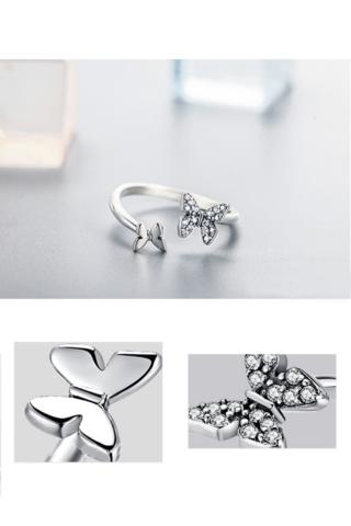 A & ONE Állítható S925 Ezüst Gyűrű, Pillangó Formával És Cirkónia Kövekkel