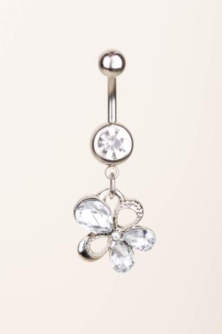 A & ONE Ezüst Színű Rozsdamentes Acél Lógós Virágos Köldök Piercing, Cirkónia Kövekkel