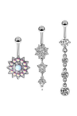 A & ONE Látványos Ezüst Színű, Rozsdamentes Acél Köldök Piercing Szett, Cirkónia Kövekkel