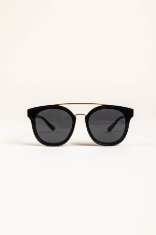 A & ONE Fekete Pilóta Fazonú, Arany Díszítésű Napszemüveg, Fekete Lencsével