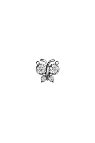 A & ONE Ezüst Színű Rozsdamentes Acél Pillangó Alakú Egyenes Piercing Cirkónia Kővel