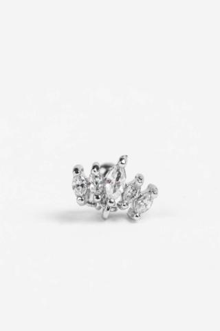 A & ONE Ezüst Színű Rozsdamentes Acél Egyenesszárú Piercing, Cirkónia Kövekkel