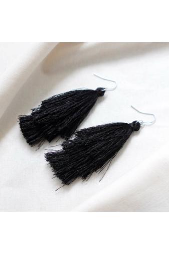Kép 1/2 - A & ONE Női fekete cérna fülbevaló