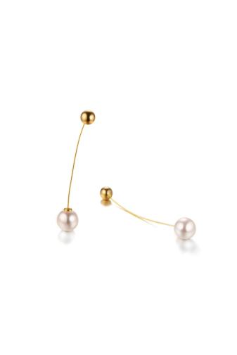 Kép 5/5 - A & ONE Hosszú szárú arany színű rozsdamentes acélból készült fülbevaló fehér gyönggyel