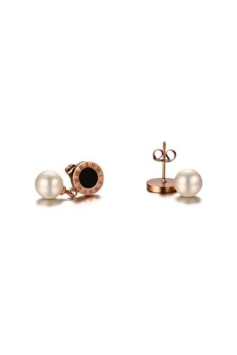 Kép 4/5 - A & ONE Gyöngyös fekete tűzzománccal díszített fülbevaló rózsaarany színű rozsdamentes acélból