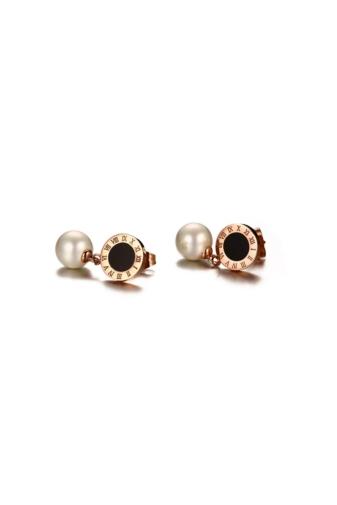 Kép 5/5 - A & ONE Gyöngyös fekete tűzzománccal díszített fülbevaló rózsaarany színű rozsdamentes acélból
